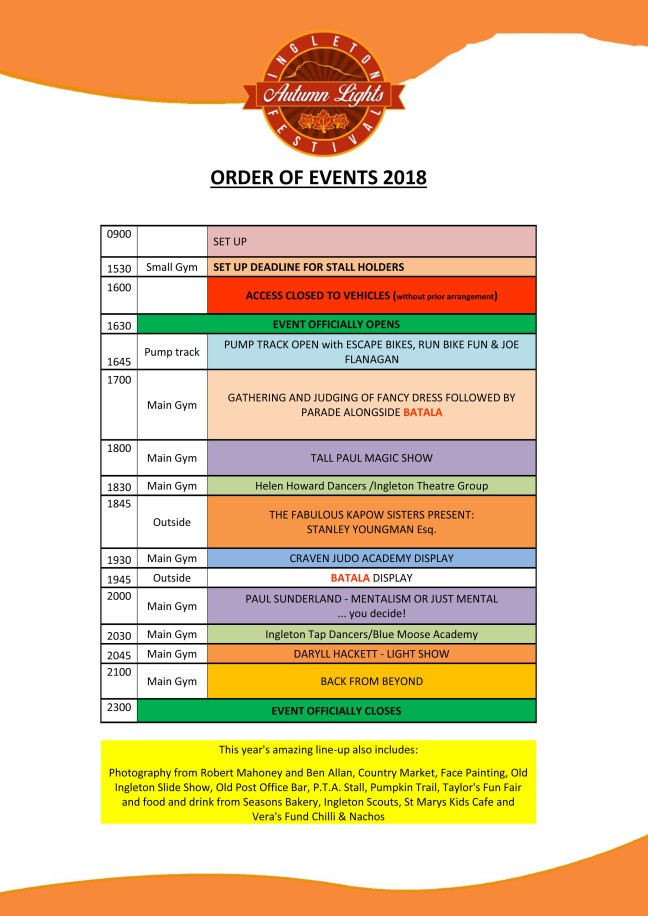 order of events poster